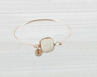 Druzy Bracelet, Personalized Bracelet, Initial Bracelet, Rose Gold Bracelet, Raw Crystal, Stone Bracelet, Bangle, Initial Jewelry, White,