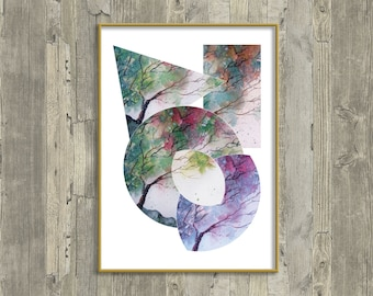 Digital Download, Blown Away, Tree painting, Abstract Art,  Geometry, Downloadable Print