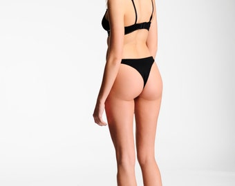 Sexy Lingerie Panties- High Cut thong-  Black - 80's Retro Style Comfortable Underwear