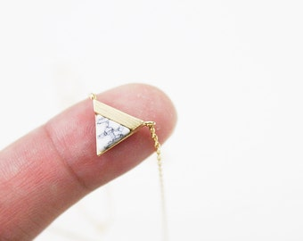 Gold Framed White Marble Stone Triangle Pendant Necklace Bridesmaid Gift Bridesmaid Necklace Simple and Modern Necklace