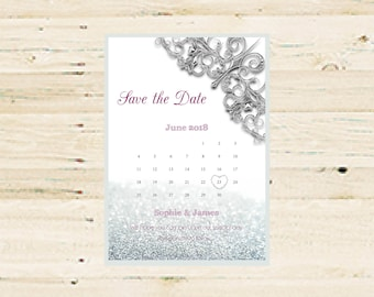 Personalised Printable Save the Date - Glitter Design