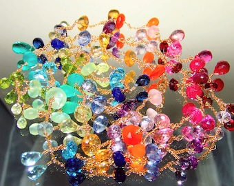 14K Gold GF Long Rainbow Gemstone Rondelle Briolette Station Necklace Colorful