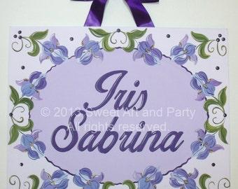 Purple Iris, Personalized, Canvas name sign, Monogram art, Purple nursery art, nursery wall art, door sign, Lavender, Floral name art, art