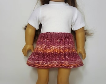 """Pink/Orange Knit Doll Skirt - Doll Clothes - Hand-made to fit like American Girl Doll Clothes - 18"""" Doll Clothes - Knit Doll Clothes"""