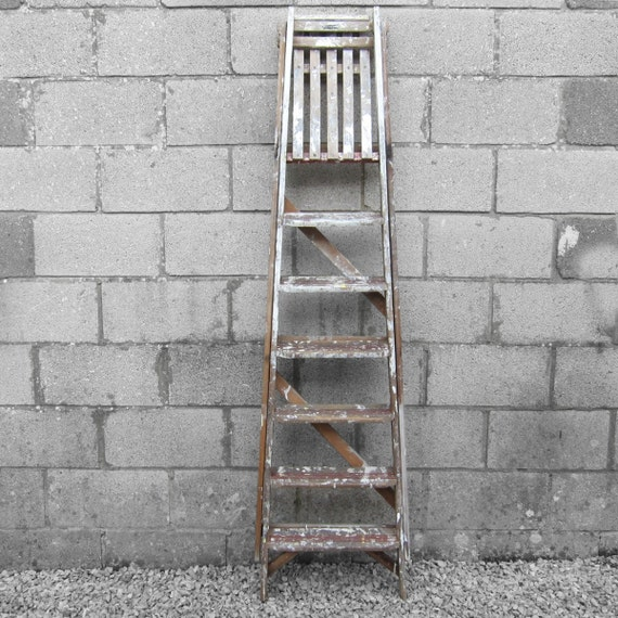 Pine Step Ladders Old Painted Shabby Chic Paint Splashed Traditional