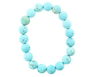 10mm Stretchy Matte Turquoise, 10mm Round  Matte Turquoise, Elastic Matte Turquoise Bracelet, Matte Turquoise Jewelry, Wholesale
