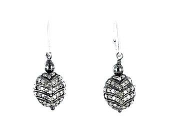 PAVE DIAMOND EARRINGS Sterling Silver 11mm New World Gems
