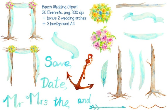 hand painted watercolour beach wedding arch clipart for rh etsy com Beach Wedding Border Beach Wedding Thank You