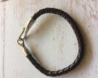 Leather Braided Bracelet Metal Clasp