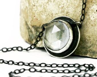 Clear Quartz Necklace, Faceted Clear Quartz, Rose Cut Clear Quartz Necklace