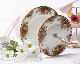 """Royal Albert Old Country Roses cake stand: Classic 2 tier cake stand / dessert stand  for a traditional """"English"""" tea party."""