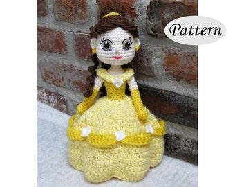 BELLE - Amigurumi Pattern Crochet Doll Pattern Amigurumi Princess Pattern - Tutorial - PDF - Plush Doll Girl