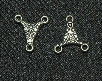 Lot de 5 petites perles de connecteur d'argent antique 14x13mm #98
