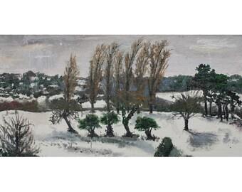 Snow, Shirehampton Park Golf Club, small original oil painting, canvas board, 12x24cm