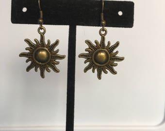 Brass sun or starburst earrings