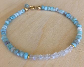 Larimar and Moonstone Bracelet, Stacking Bracelet, Tropical, Beach Jewelry