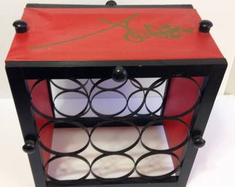 Vintage Mid Century Wrought Iron Wood Wine Rack Red Black Asian Characters