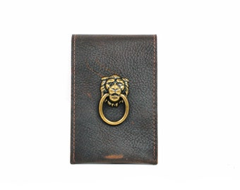 Steampunk Phone Case Lion Leather Wallet and iPhone Case Smartphone Case and Card Wallet with Lion Leo Gifts for Bookworms