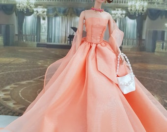 Apricot color ball gown for Silkstone Barbie and other fashion dolls
