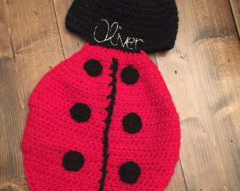 Crochet Lady Bug embroidered hat/blanket