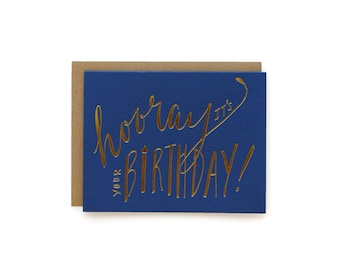 Hooray Birthday - letterpress card
