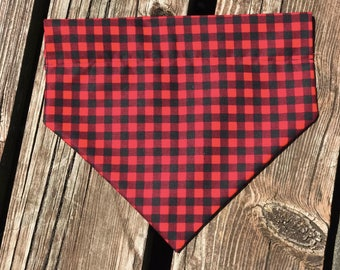 Red/Black Plaid Over The Collar Bandana