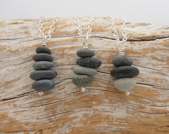 Teeny tiny rock stack necklace - tiny cairn sculpture