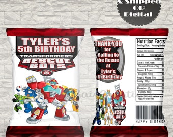 Transformers Rescue Bots Treat Bag-Transformers Birthday Favors- Custom Chip Bags- Printables-Digital-Resuce Bots Birthday Party-Transformer