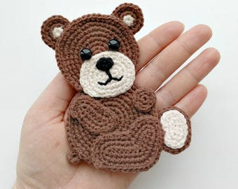 PATTERN Bear Applique Crochet Pattern PDF Woodland Animals Pattern Instant Download Accessories Motif Ornament Baby Blanket Baby Gift ENG