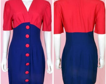 Retro Hot Pink Dress Vintage 80s ColorBlock Two-Tone Navy Blue Nautical Dress Small