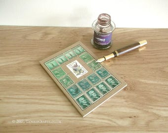 Green USA Travel Notebook | South Carolina State Bird & Flower Vintage Postage Stamps | Eco Kraft Journal | American Presidents History Gift