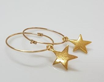 Gold star earrings, Dainty gold earrings hoops, Minimalist jewelry gold hoop earrings
