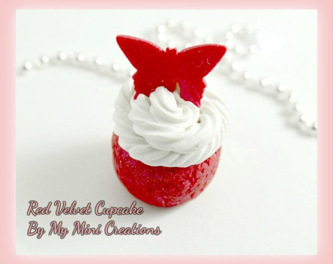 Red Velvet Cupcake Charm, Miniature Food, Miniature Food Jewelry, Polymer Clay,
