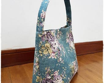 Linen Hobo Bag, Blue Hobo Handbag, Rose Hobo Bag