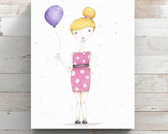 Birthday Girl Canvas Print from original watercolor painting - Girl with Balloon - Wrapped Canvas Print