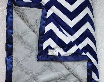 Minky Blanket, Adult Minky, Chevron Minky, Chevron Blanket, Oversized Blanket, Oversized Minky, Christmas Gift, Soft Blanket, Navy and White
