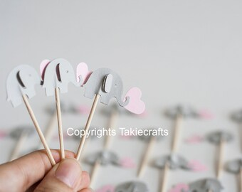 24 elephant  cupcake toppers Light gray and pink -Pink and gray Cupcake Toppers Baby Shower
