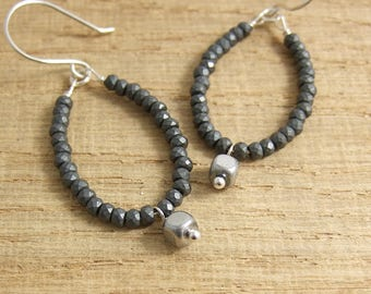 Earrings with Loops of Gun Metal Gray Colored Hematite Beads and Square Hematite Drops CHE-328