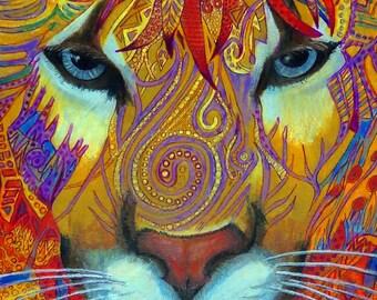 original art drawing color pencil zentangle cougar controlled wall decor floral