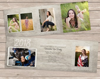 Senior trifold Photoshop template, Instand Download, Customizable