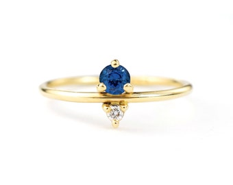 Sapphire and Diamond September Birthstone Mother's Ring | Eco-Friendly Stones 14k Recycled Gold | Minimal Modern Birthstone Mother's Ring