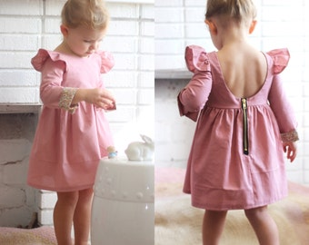 Isabella Dress - long sleeve dress - winter dress - dusty pink - toddler dress - party dress - birthday dress - girls dress - fall dress