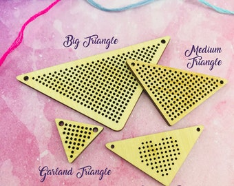 SALE!! Triangle Wooden Cross Stitch Pendant