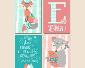 GIRL Fox Nursery Decor, Woodland Girl Tribal Nursery Wall Art, Let Her Sleep Quote, Baby Fiona Nursery Match, Set of 4 Canvas or Prints
