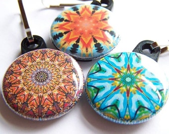 Kaleidoscope Zipper Pulls 3 piece Autumn Sunset Pack