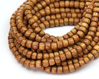 Bayong Wood Beads, Light Brown, 5x4mm Pucalet - 16 inch Strand-  eW777-5x4