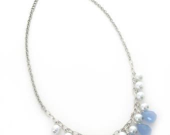 briolette necklace, teardrop necklace, multi briolette necklace, multi teardrop necklace, pearl charm necklace, blue briolette necklace