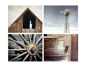 Rustic Country Wall Art, Modern Farmhouse Decor, Farm Decor, Blue Gray Brown, Rustic Print Set
