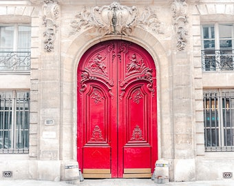 Paris Photography, Home Decor, Red Door, Door Print, Paris Door, Extra