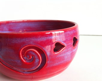 Purple Red Love Ceramic  Yarn Bowl  - MADE TO ORDER